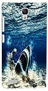 PrintVisa Animal Shark Ocean Case Cover for Xiaomi Redmi Note/Note 4G