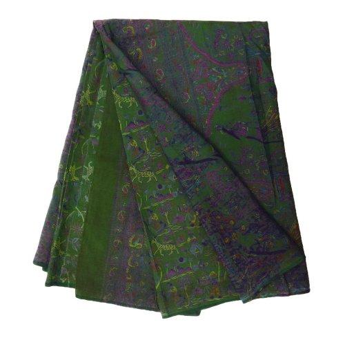 indian Saree annata misto seta riciclata tessuto sari astratto stampato antico tessuto artigianale decorazioni per la casa verde sari delle donne wrap dress