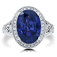 BERRICLE Oval Cut Sapphire Cubic Zirconia CZ Sterling Silver Halo Cocktail Fashion Right Hand Ring by BERRICLE
