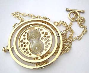 Harry Potter Falcao Horcrux Time Turner Spinning Gold Necklace in Gift Bag
