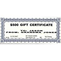 1 - $500 Gift Certificate Kit Young Cards 78892