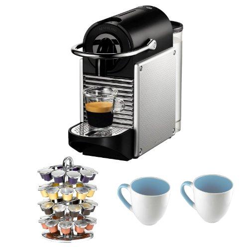 Nespresso D60 Pixie Espresso Makers in Aluminum + 40 Capsule Carousel + 2 Stoneware Mugs