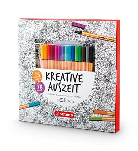 Stabilo - Set creativo con 15 penne punta 88 e libro da colorare
