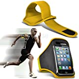 Yellow iPhone 5-5s-5c Running Armband Case Cover Holder for Cycling, Jogging, Fitness Training, Boot Camp, Exercise, Sports, Outdoor Activities, Gym Cases Covers and Accessories for New Apple iPhone 5-5s-5c by iChoose®