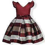 ZAH Girl Dress Kids Ruffles Lace Party Wedding Bridesmaid Dresses(Burgundy,7-8Y)