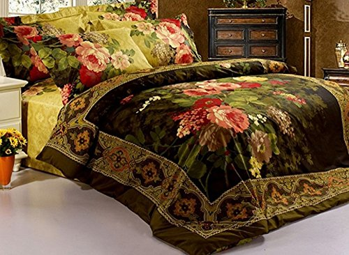 Cozyvie Antique Retro Luxury Oil Painting Print Bedspreads and Duvet Cover Sets,Bedding Sets,4 Piece,Twin/Full/ Queen/Extra Long Twin/King/California King Size (Extra Long Queen Comforter compare prices)