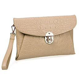 BMC Womens Peachy Tan Faux Crocodile Skin Textured PU Leather Envelope Flap Fashion Clutch Handbag