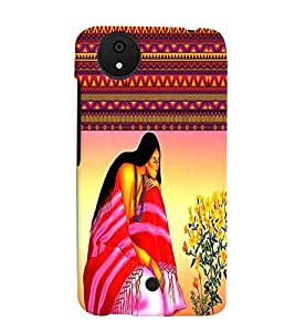 Fuson Pattern Girl with Flowers Back Case Cover for MICROMAX CANVAS A1 ANDROID ONE - D3942