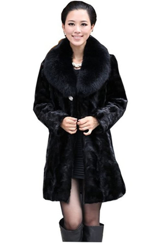YR Lover Damen Lange Nerz Pelz Winter Mantel & Fuchs Pelz Kragen bestellen