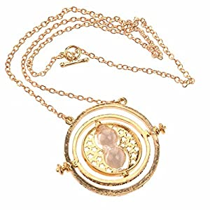 Full-link Womens Girls Time Turner Rotating Hourglass Pendant Alloy Necklace