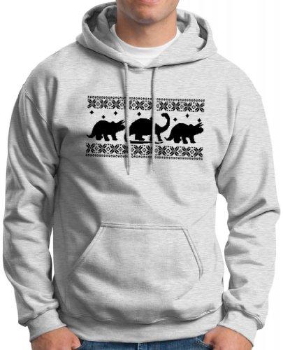 Dinosaur Pattern Faux Ugly Christmas Sweater Hoodie Sweatshirt Large Ash