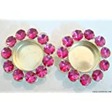 Store Utsav Tealight Holder Brass And Pink Crystal Beads - A Set Of 2