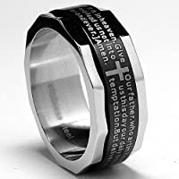 Two Tone Stainless Steel Ring with Lords Prayer and Cross Design Sizes 7 to 13