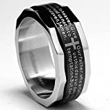 Two Tone Stainless Steel Ring with Lords Prayer and Cross Design Size 8