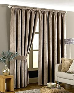 Luxurious Beige Heavyweight Velvet 46x54 Lined Pencil Pleat Curtain Drapes by Curtains