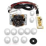 アーケードゲーム ジョイスティック MECO 基板タイプ ジョイスティックレバー コントロール ファイトスティック エンコーダ アーケードゲーム 部品 セット ホワイト 5V
