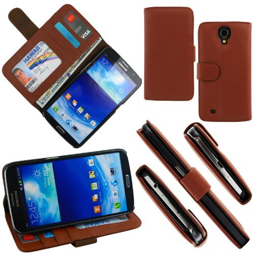 Celljoy Samsung Galaxy Mega 6.3 Case Protective [Wallet Hybrid] Leather Credit Card Wallet Case Protection Cover For Galaxy Mega 6.3 [Retail Packaged] (Brown)