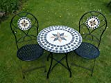 3 Piece Metal Mosaic Bistro Set For 2 WITH CUSHIONS - Quality Garden Patio Set For Two With 2 Folding Chairs And A 60cm Table