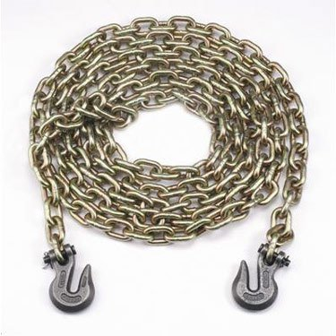 "3/8"" X 20' Grade 70 Short Link Transport Chain, Binder Chain with Clevis Grab Hooks"
