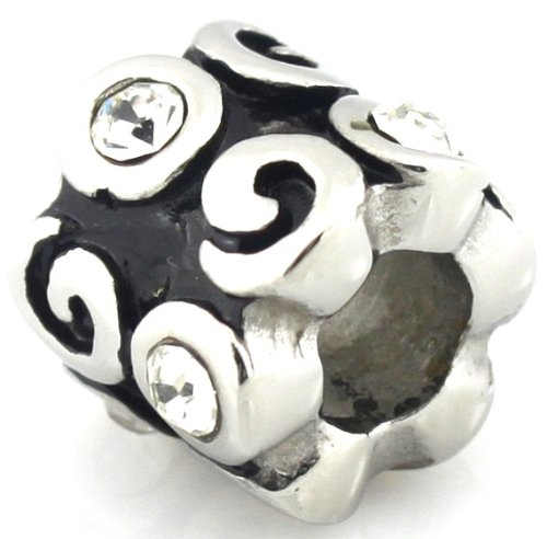 HEIRLOOM European with Clear Cz Stones European Bead Fits Pandora by Island Imports And More
