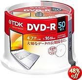 TDK LoR データ用DVD-R 4.7GB 1-16倍速対応 手描きもできるホワイトワイドプリンタブル 50枚スピンドル ATDR-47PWC50PZ