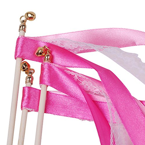 Hangnuo Pack of 10 Wedding Birthday Party Silk Lace Ribbon With Bells Streamers Wands Fairy Stick Pink (Bell And Streamers compare prices)