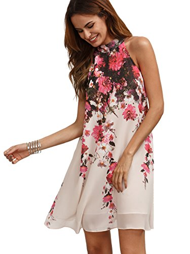 Floerns Women's Summer Chiffon Sleeveless Party Dress Pink M