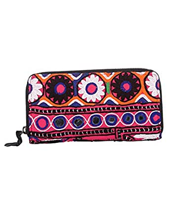 Amazon.com: Womens Cotton Vintage Printed Hand Embroidered Pink Clutch