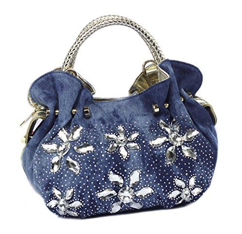 Lady lovely Floral Diamond Denim Shoulder Handbag