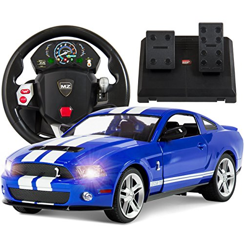 Best Choice Products 1/14 Scale RC Ford Mustang Realistic Driving Gravity Sensor Radio Remote Control Car Blue (Mustang Battery Car compare prices)