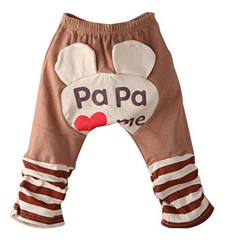 Uniqui Baby Jungen Mädchen Süßigkeit Karikatur PP Hose Jogginghosen (90 für 6-12 monate, braun)