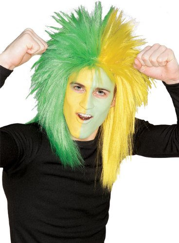 Rubie's Costume Green and Yellow Sports Fan Wig