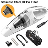 Car Vacuum Cleaner, Vacplus DC 12 Volt Portable Handheld Vacuum Cleaner for Car of 5.0 KPa Suction with LED Light, Stainless Steel HEPA Filter, 16.4ft Cable for Wet & Dry Use – White