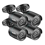 SANNCE 4 Pack 720P CCTV Surveillance Camera Kit with High Resolution Indoor/Outdoor, IP66 Weatherproof Housing, Day/Night Vision