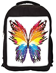 Snoogg Butterfly Graphic Colourful Backpack Rucksack School Travel Unisex Casual Canvas Bag Bookbag Satchel