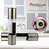 Millbrook Kitchenware Manual Salt and Pepper Grinder Set ~ Stainless Steel Salt & Pepper Mill with Adjustable Ceramic Grinder