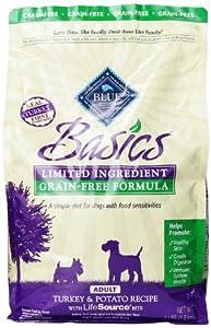 Blue Buffalo Basics Grain Free Turkey and Potato Recipe Adult Dry Dog Food, 4-Pound