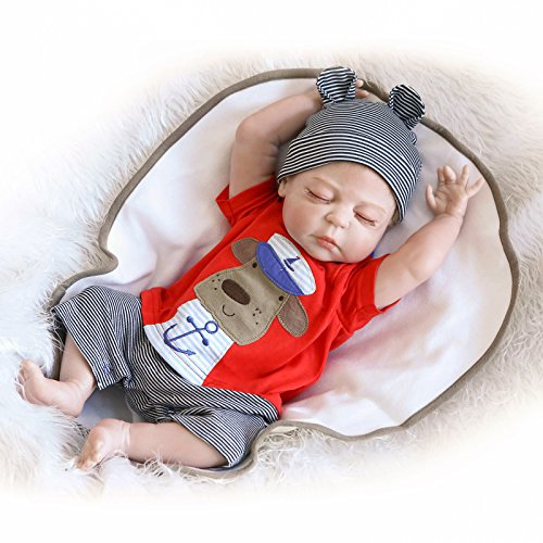 SanyDoll Reborn Baby Doll Soft Silicone 22inch 55cm Magnetic Lovely Lifelike Cute Lovely Baby Red cute sleeping doll (Full Body Silicone Baby Boy compare prices)