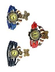 Felizo Combo Offer Pack Of 3 Multi Strap Fancy Butterfly Bracelet Vintage Watch (Blue, Black & Red)