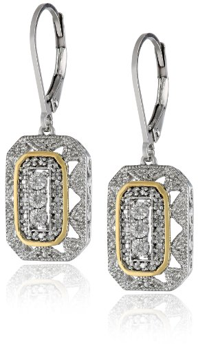 S&G Sterling Silver And 14K Yellow Gold Diamond Art Deco-Style Drop Earrings (0.15 Cttw, I-J Color, I2-I3 Clarity)