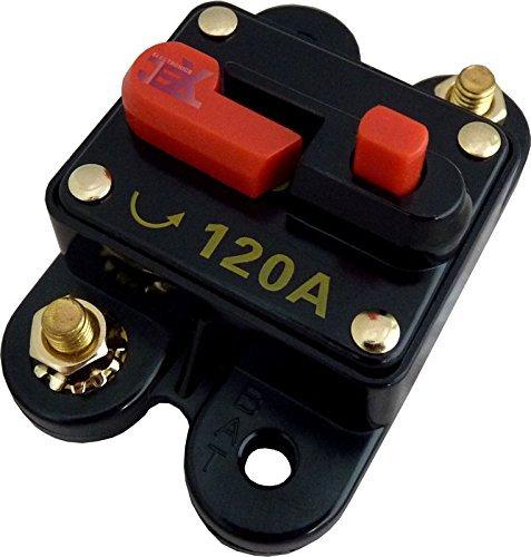 Jex Electronics 120 Amp In-Line Circuit Breaker Stereo/Audio/Car/RV 120A/120AMP Fuse 12V/24V/32V
