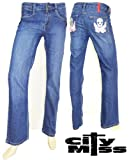 Women's new ladies denim light wash skull pocket straight leg jeans