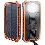 Eonfine-正規品 15000mAh 大容量ソーラーチャージャー モバイルバッテリー 緊急防災用 SOS機能付き LEDライト付き 旅行 キャンプの良品 iPhone iPad iPod Xperia Galaxy Nexus等対応 2USBポート 二つの充電方法 ソーラー パワーバンク(オレンジ&ブラック)