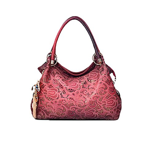 Buenocn Classic Fashion Tote Handbag Leather Shoulder Bag Perfect Large Tote Ls1193 (red)