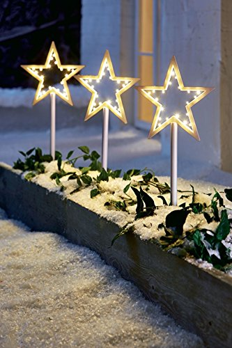 weihnachtsdeko garten led gartenstecker stern 3er set wei. Black Bedroom Furniture Sets. Home Design Ideas