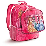 Disney Pink Multi Princess Backpack & Lunch Tote Set [ Belle, Mulan, Jasmine, Pocahontas, Sleeping Beauty, Cinderella, Tiana, Ariel, Rapunzel, Snow White)