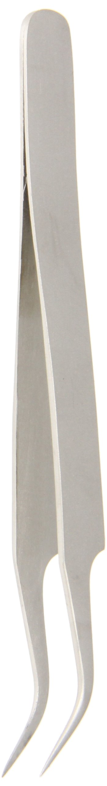 Hakko CHP 7-SA Stainless Steel Non-Magnetic Precision Tweezers with Very-Fine Point Curved Tips, 4-1/2 Length