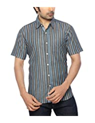 Moksh Black Blue Slim Fit Cotton Shirt V2IMS0414-118