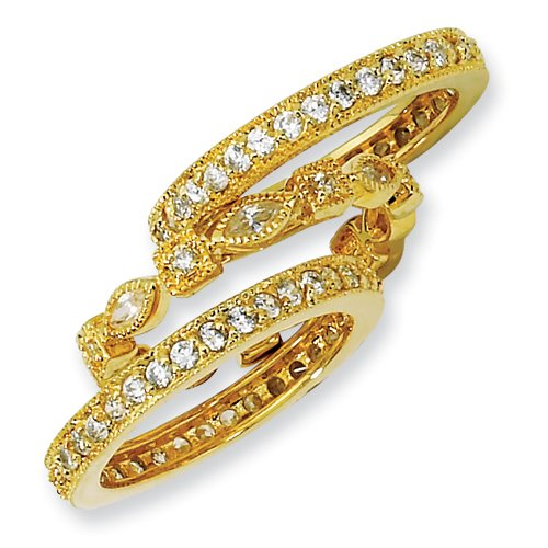 Gold-plated Sterling Silver CZ Eternity Three Ring Set Size 6