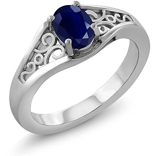 Sterling Silver Genuine Blue Sapphire Women's Ring